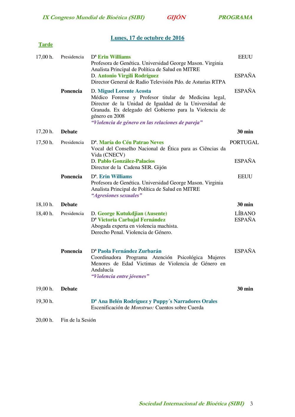 tercera página del programa del  noveno congreso mundial de bioética