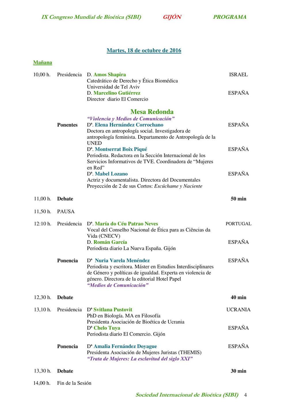 cuarta página del programa del noveno congreso mundial de bioetica
