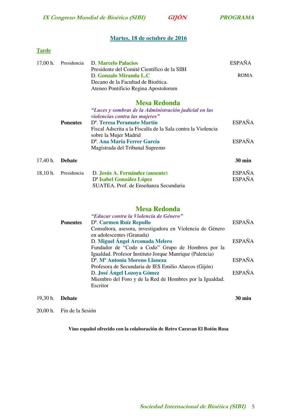 página 5 del programa del noveno congreso mundial de bioética