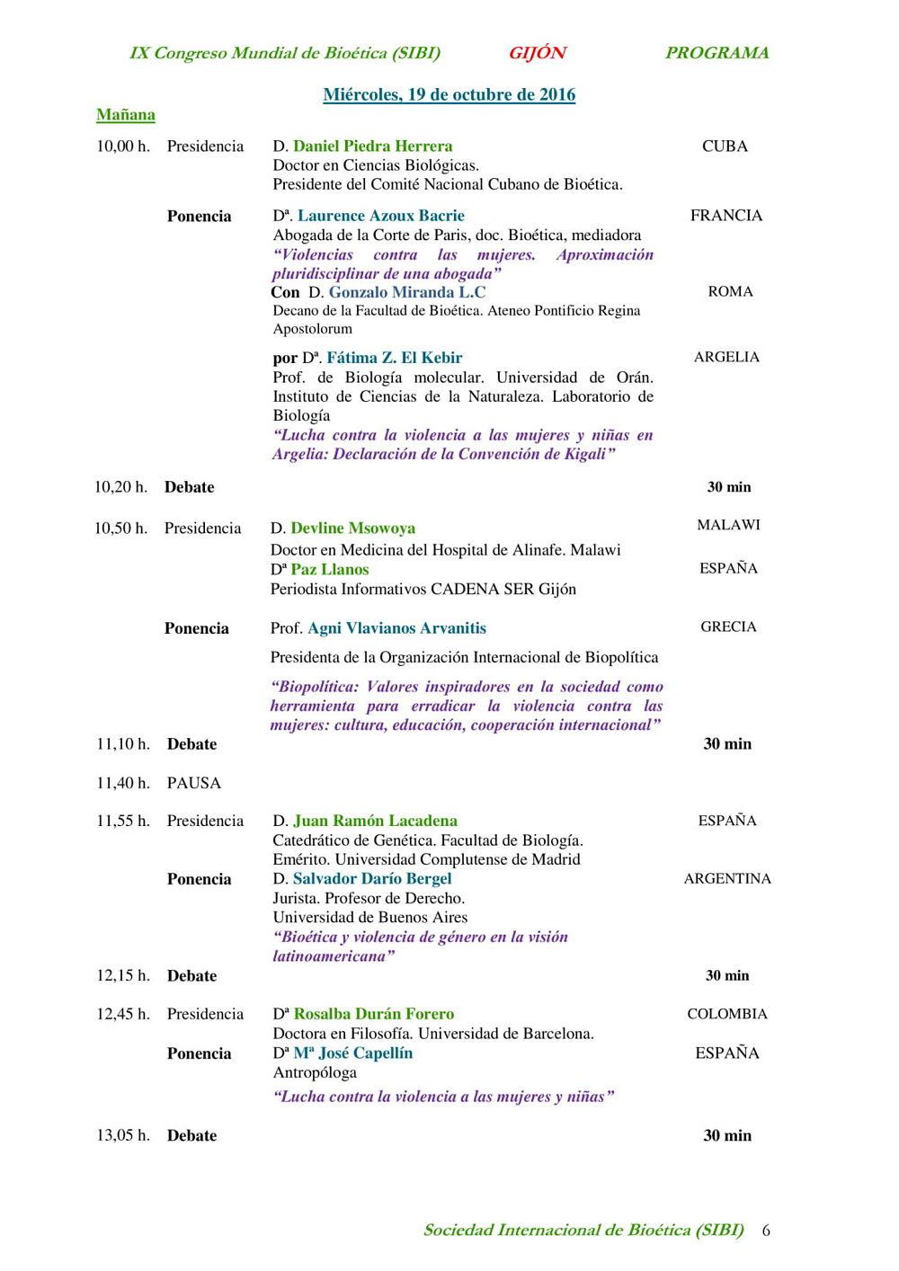 pagina sexta del programa del congreso mundial de bioetica