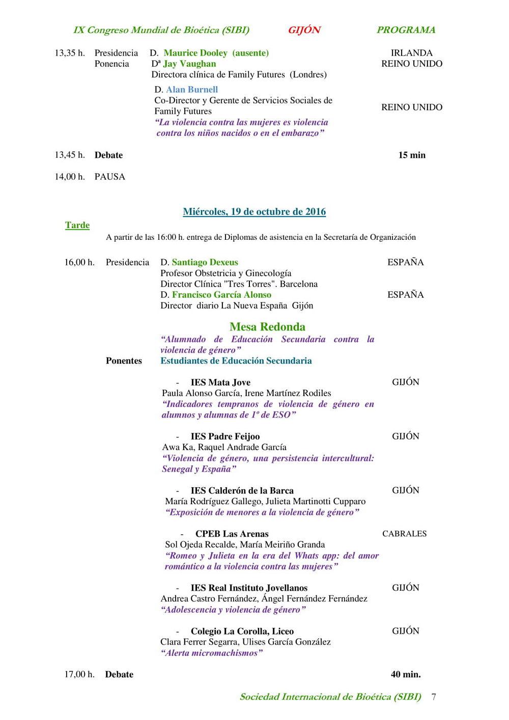 página siete del noveno congreso mundial de bioética