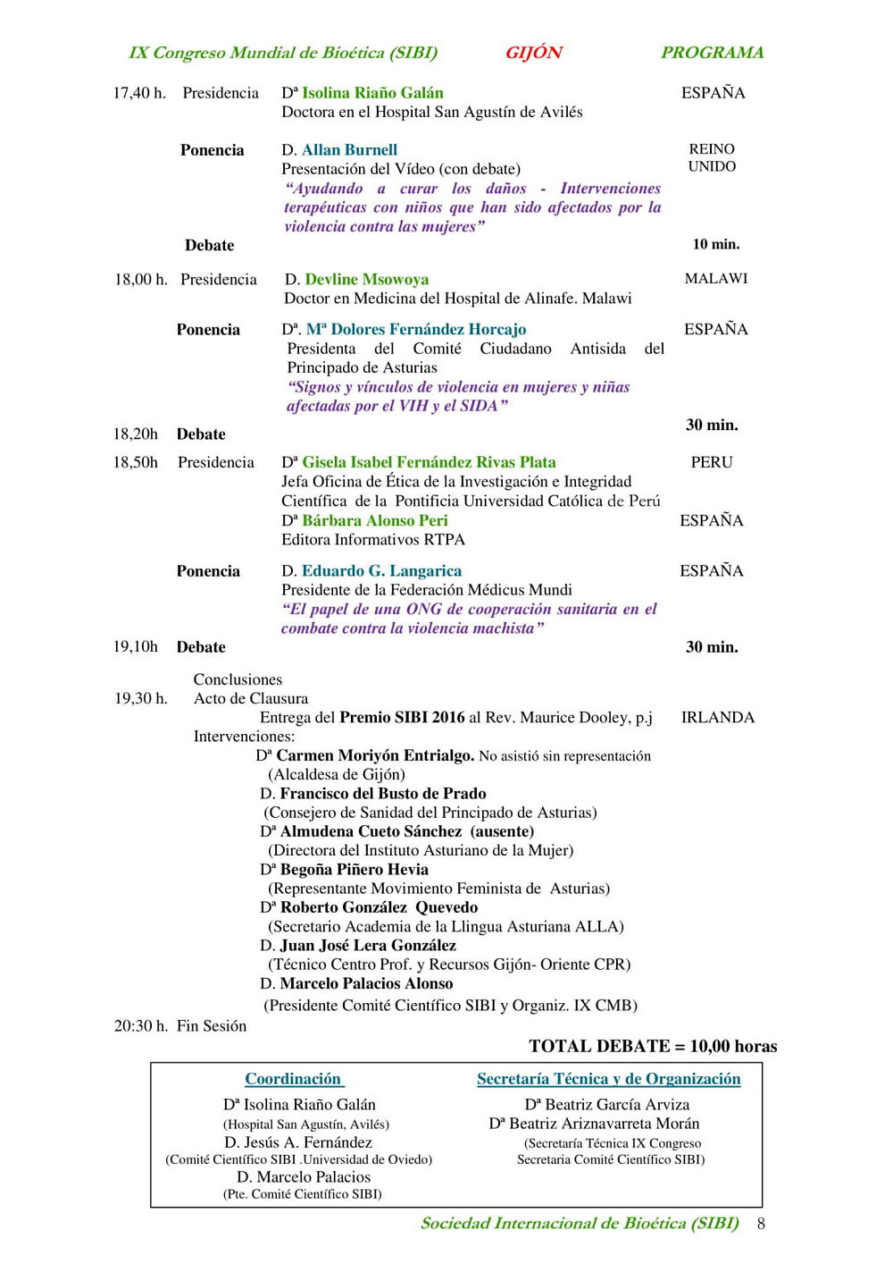 pagina octava del programa del congreso mundial de bioetica gijon