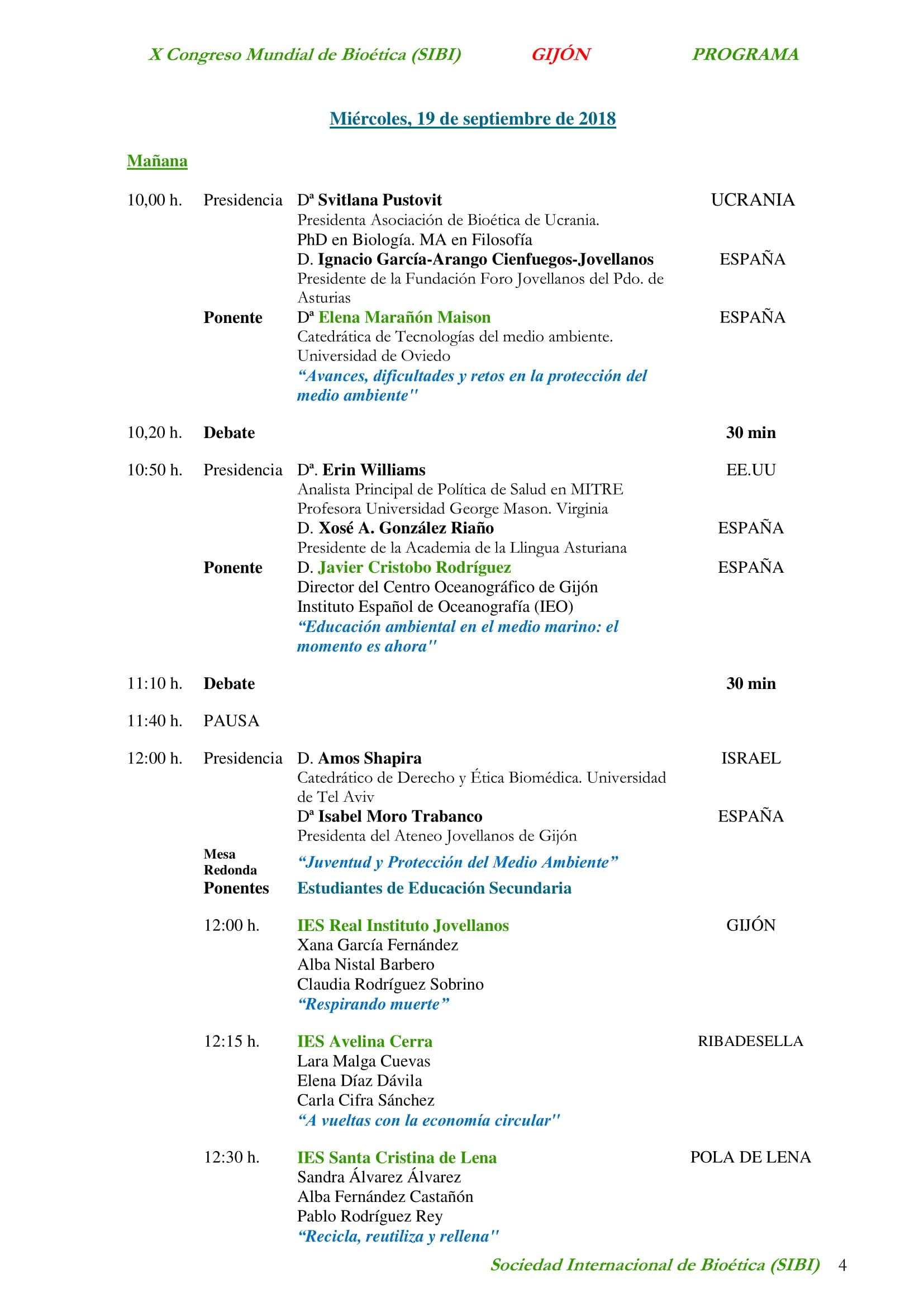 programa X congreso mundial bioetica en gijon